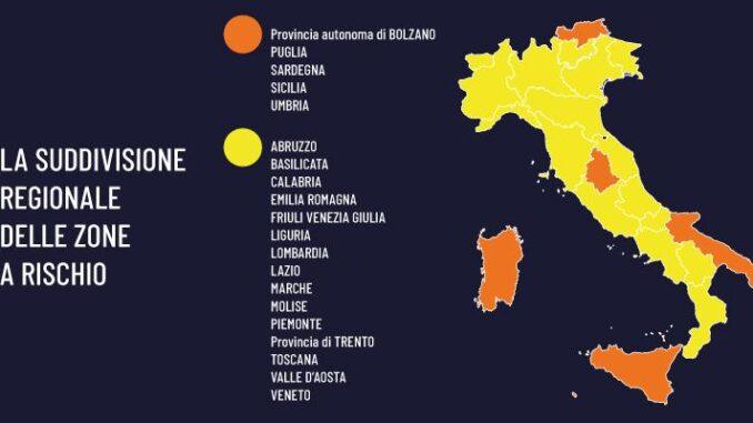 Umbria Cartina Italia.Addio Si Spera Alle Zone Rosse L Italia Si Veste Di Giallo Imgpress